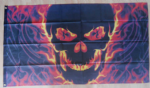 Pirate Skull and Fire Large Flag - 5' x 3'.